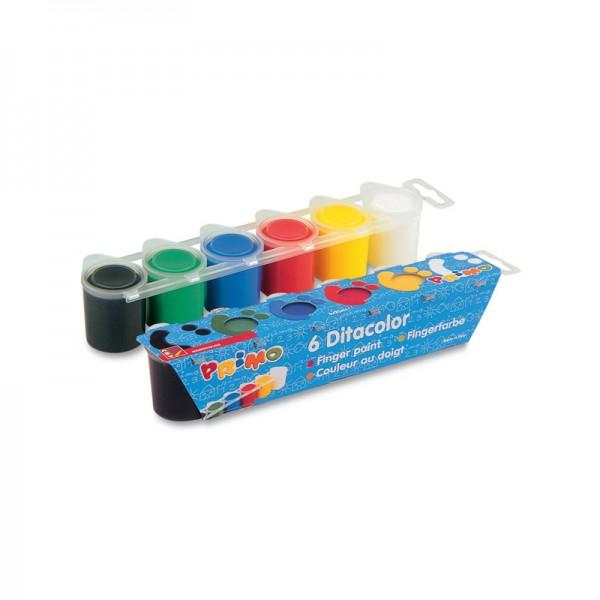 Комплект темперни бои Primo 6 цвята по 25 мл за пръсти